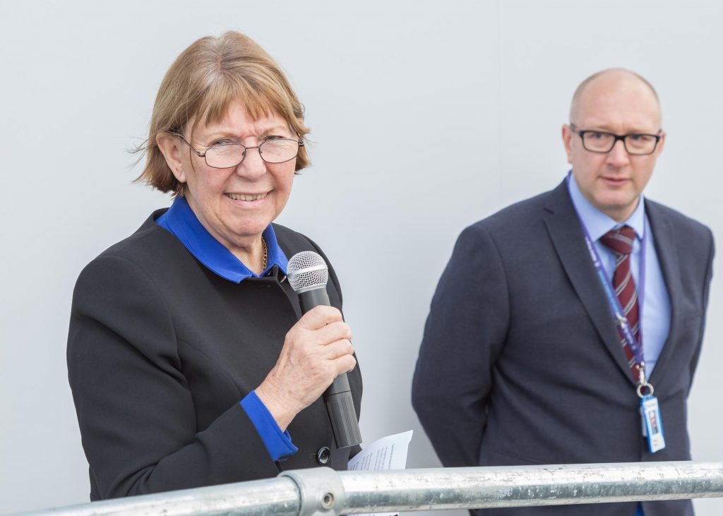 Councillor Kay Cutts, the Leader of Nottinghamshire County Council, speaking during the opening of the new access road to Harrier Park at Hucknall.